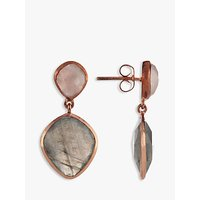 Image of John Lewis & Partners Gemstones Drop Earrings, Rose Quartz/Labradorite