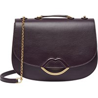 Lulu Guinness Half Covered Lip Isabella Smooth Leather Cross Body Bag, Aubergine