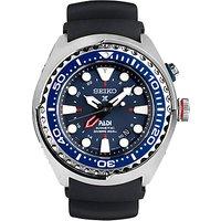 Seiko SUN065P1 Men's Prospex Kinetic Silicone Strap Watch, Black/Blue