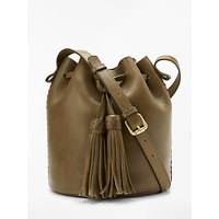 And/or Isabella Leather Whipstitch Drawstring Bucket Bag