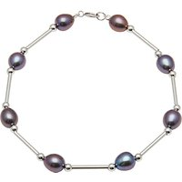 A B Davis 9ct Gold Oval Freshwater Pearl Bar Bracelet