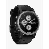 Garmin fēnix 5S Plus GPS Multisport Watch, Silver with Black Band, 4.2cm