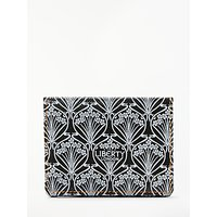 Liberty Iphis Canvas Print Leather Foldover Card Holder, Black/neon
