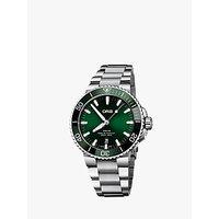 Oris 01 733 7730 4157-07 8 24 05PEB Mens Aquis Date Bracelet Strap Watch, Silver/Green