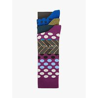 Ted Baker Pointe Geo Print Socks, Pack of 3, One Size, Multi
