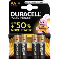 DURACELL Plus Power 1.5V Alkaline AA Batteries, Pack of 4