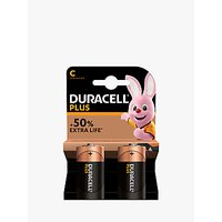 DURACELL Plus Power 1.5V Alkaline C Batteries, Pack of 2
