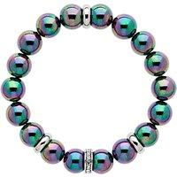 Finesse Glass Pearl And Crystal Rondelle Beaded Stretch Bracelet, Petrol