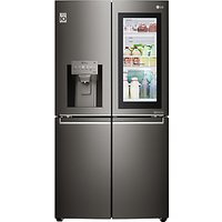 LG InstaView GMX936SBHV American Style Plumbed Freestanding Fridge Freezer, A+ Energy Rating, 91cm Wide, Glossy Black
