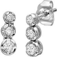 Mogul 9ct White Gold Triple Diamond Stud Earrings, 0.15ct