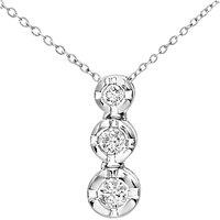 Mogul 9ct White Gold Triple Diamond Pendant Necklace, 0.15ct