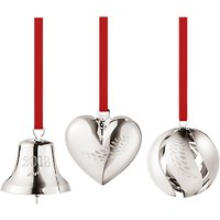Georg Jensen Christmas Heart, Bell and Ball, Palladium