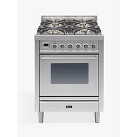 ILVE Roma PW70E3/I 70cm Single Dual Fuel Cooker, A Energy Rating, Stainless Steel