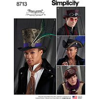 Simplicity Men's Pirate and Top Hats Sewing Pattern, 8713