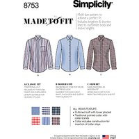 Simplicity Men's Shirts Sewing Pattern, 8753