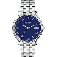 Montblanc 117830 Mens Tradition Automatic Date Bracelet Strap Watch, Silver/Blue