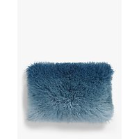 John Lewis & Partners Mongolian Sheepskin Ombre Cushion, Carbon Blue