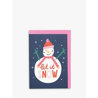 Raspberry Blossom Let it Snow Christmas Card