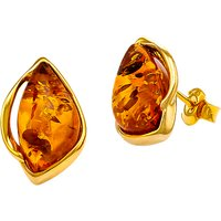 shop for Be-Jewelled Marquise Cut Amber Stud Earrings, Gold/Cognac at Shopo