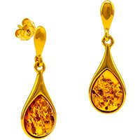 shop for Be-Jewelled Teardrop Amber Drop Earrings, Gold/Cognac at Shopo