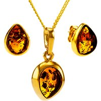 shop for Be-Jewelled Teardrop Stud Earrings and Pendant Necklace Jewellery Set, Gold/Cognac at Shopo