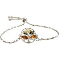 shop for Be-Jewelled Tree Charm Baltic Amber Adjustable Bracelet, Multi at Shopo