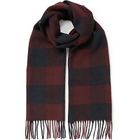 Barbour Moons Lambswool Check Scarf, Red/navy