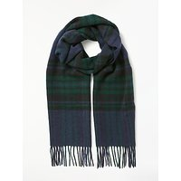 Barbour Moons Lowerfell Lambswool Check Scarf, Navy/green