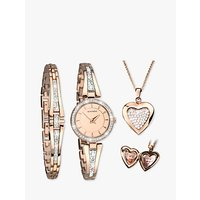 Sekonda 2533G.76 Womens Crystal Locket Pendant Bangle and Bracelet Strap Watch Gift Set, Rose Gold