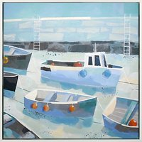 Claire Henley - Waiting For The Tide Embellished Framed Canvas Print, Blue, 64 x 64cm