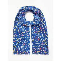 Collection WEEKEND by John Lewis Brush Stroke Floral Cotton Scarf, Blue/Multi
