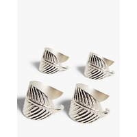 John Lewis and Partners Leaf Wrap Napkin Rings, Set of 4, Silver