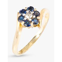 shop for A B Davis 9ct Gold Sapphire and Diamond Flower Cocktail Ring, Gold/Blue at Shopo