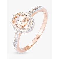 shop for A B Davis 9ct Rose Gold Morganite and Diamond Oval Cocktail Ring at Shopo