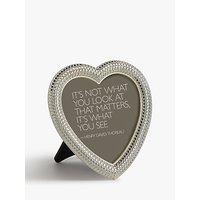 John Lewis & Partners Eugenie Diamond Heart Photo Frame, 4 x 4 (10 x 10cm), Silver