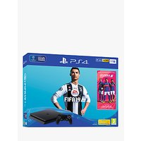 Sony PlayStation 4 Slim Console, 1TB, with DUALSHOCK 4 Controller, Jet Black and FIFA 19 Bundle