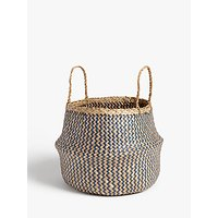 John Lewis and Partners Patterned Seagrass Basket, Blue