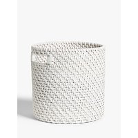 Croft Collection Rattan Cylindrical Basket, White