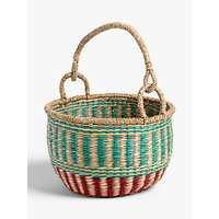 John Lewis and Partners Patterned Seagrass Basket, Red/Green
