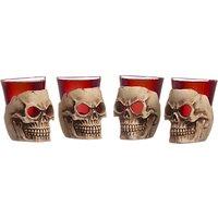 Mixology Halloween Deadshots Skull Shot Glasses, Pack of 4, Clear