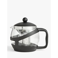 John Lewis and Partners The Basics 5 Cup Teapot, 1.2L, Clear/Black