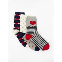 John Lewis & Partners Amour Hearts Print Socks, Pack Of 3, Navy/grey