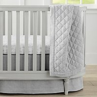 image-Pottery Barn Kids Linen Toddler Bed Quilt, Grey
