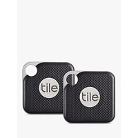 Tile Style Pro Series (2018), Bluetooth Phone, Keys, Item Finder, 2 Pack, Black