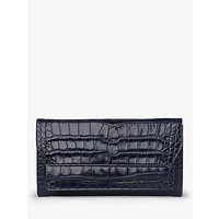 L.K.Bennett Ella Leather Croc Effect Clutch Bag, Navy