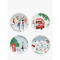 Cath Kidston 'All Aboard' London Plates, Set of 4, Assorted, 25cm