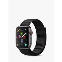 Apple Watch Series 4, GPS and Cellular, 44mm Space Grey Aluminium Case with Sport Loop, Black