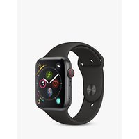 Apple Watch Series 4, GPS and Cellular, 44mm Space Grey Aluminium Case with Sport Band, Black