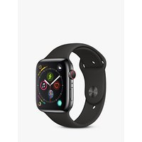Apple Watch Series 4, GPS and Cellular, 44mm Space Grey Stainless Steel Case with Sport Band, Black