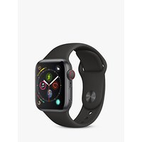 Apple Watch Series 4, GPS and Cellular, 40mm Space Grey Aluminium Case with Sport Band, Black